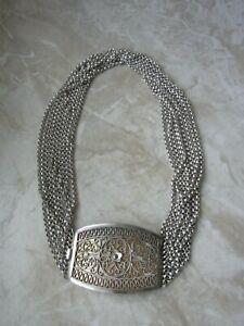 Tolle Biedermeier Kropfkette, Trachtenkette massiv Silber, Charivari, Wiesn