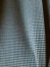Vintage 30s 100 % pure wool fabric small green white houndstooth 142 cm x 230 cm