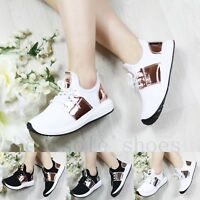WOMENS LADIES LACE UP FLATS RUNNING TRAINERS GYM FITNESS PUMPS SPORT SHOES SIZE