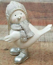 "December Diamonds Snow Bird Figurine Silver Sparkly Winter White Small 4"""