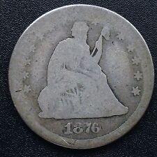 USA 1876 CC Seated Liberty Quarter Dollar 25 Cent Carson City Silber Selten 1963
