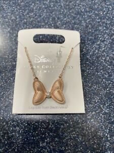 New Disney Parks Minnie Mouse BOW Necklace Rose Gold Tone Swarovski Crystal