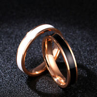 18K Rose Gold Titanium Steel White/Black Enamel Band Women's Wedding Ring Sz 3-9