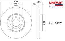 New Unipart Front Brake Discs (Pair) For Volvo V70 Mk II (285) 99-08 OE 31400739