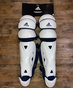 "NEW Adidas Pro Series Catcher's Leg Guards 2.0 17"" White Navy Baseball DH2544"