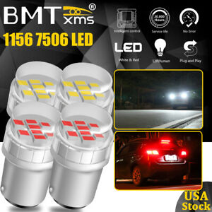 4x 1156 7506 BA15S 1141 LED Backup Reverse / Brake Tail Light Bulbs White & Red
