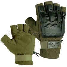 Paintball Exalt Hardshell Gloves Olive Half Finger S/M Small Medium Padded Glove