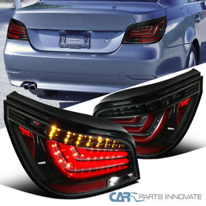 For 04-07 BMW E60 5-Series Pearl Black LED Bar Tail Lights Rear Brake Lamps Pair