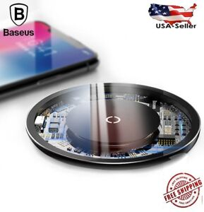Qi Wireless Charger Charging Pad Visible Trans Fast Quick iPhone 8/X/XS Galaxy