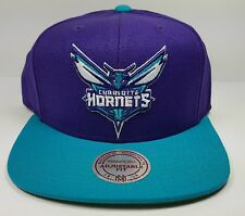 Mitchell & Ness Charlotte Hornets STA3 XL Logo Purple Snapback Hat Cap NBA