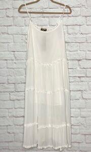 Medium/Large/XL New White Gauze Tiered Boho Dress Sundress Ruffles Cotton Lined