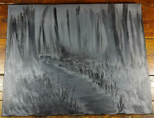 Original Acrylic Painting Canvas Black Monochrome Lost Woods Modern Art Abstract