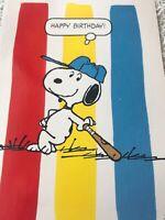 Vintage Birthday Card Puppy Dog Hallmark Snoopy Baseball Bat Hat