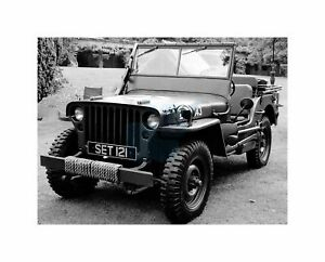 Cultural Military Army Jeep USA Vehicle Transport Black White Art Canvas Print
