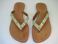 Mystique Women's Gold Leather Embellished Turquoise Sandals Size 8