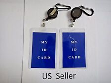 2X-Retractable Badge Reel & Vertical ID Holder Combo set US Seller