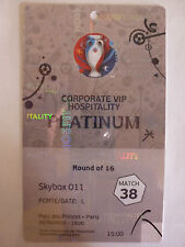 Used VIP pass badge ticket stub EURO 2016 Wales v N.Ireland Round of 16 Match 38