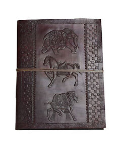 Fotoalbum Groß XXL Goldene Hochzeit Leder Indien Handmade Vintage Elefant Kamel