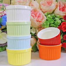 6 Ceramic Ramekin Dishes Souffle Dessert Bowl Baking Serving Dish Mixed Colour