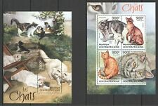 CA629 2013 CENTRAL AFRICA FAUNA PETS CATS LES CHATS KB+BL mnh