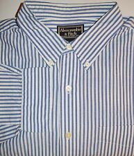 Abercombie Fitch Mens Size XL Shirt Long Sleeve 100% Cotton Blue Button Down