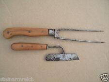 c1800 JAGDBESTECK TRANCHIERBESTECK Messer+2 Zack Gabel Biedermeier Barock Jagd