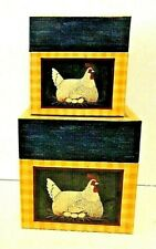 Warren Kimble Walnut Creek Stationery Co Decorative Chicken Nesting Boxes Set 2