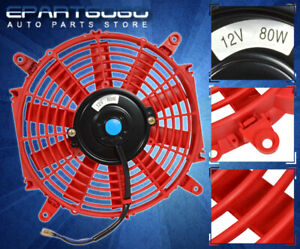 "Red 12"" Inch Slim Fan Radiator Push Pull Thin Electric Cooling 12V For Nissan"