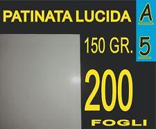 200 FF A5 CARTA PATINATA LUCIDA STAMPANTI LASER X PIEGHEVOLI 150 gr