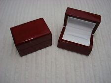 GLOSSY ROSE WOOD HIS & HERS DOUBLE WEDDING BAND/RING LEATHER LINED DELUXE BOX