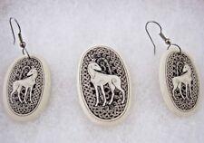 Scottish Irish Celtic Knot Deer Stag Antlers Porcelain Earrings & Pin Brooch Set