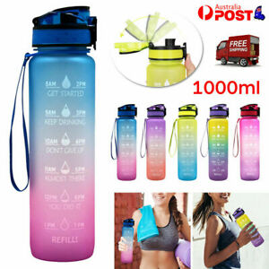1L Water Bottle Motivational Drink Flask With Time Markings BPA Free Sports Gym