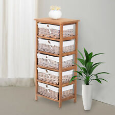 Wicker 5 Drawers Units Wooden Storage Cabinet Basket Natural