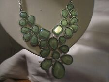 "Claire'S Silvertone & Faceted Green Stones Bib Necklace 22"" w/3"" Extender"