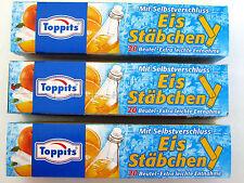 3 x 20 Toppits Eiswürfelbeutel Gefrierbeutel mit Selbstverschluss Eis Stäbchen