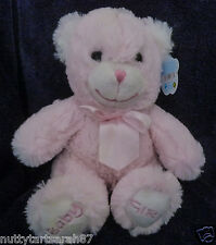 """Pink """"BABY GIRL"""" Embroidered Soft Plush Bear 10""""  Ideal Baby Gift BNWT"""