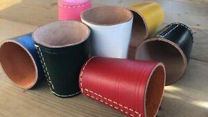 Würfelbecher Leder- color blau, pink, gelb, weiss, schwarz, rot, grün farbig