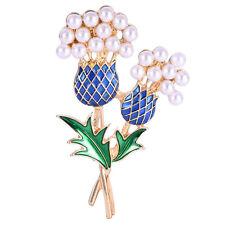 Vintage Bridal Wedding Alloy & Rhinestone Diamante Thistle Tree Brooch Pins