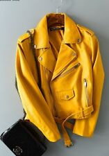 NEW ZARA WOMENS HOT YELLOW  FAUX LEATHER ZIPPER MOTO STYLE JACKET. S