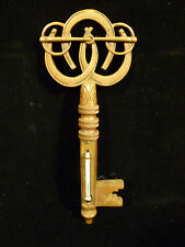 Antique Solid Bronze Horshoe & Key Wall Thermometer - Circa 1870