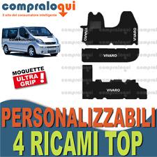 TAPPETI PER OPEL VIVARO 9 POSTI MOQUETTE con FONDO in GOMMA + 4 RICAMI TOP