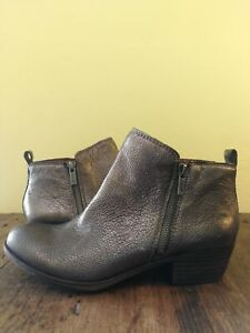 lucky brand silver leather ankle boots size 8 39