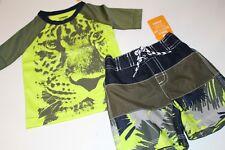 Gymboree Boys Boy Swim Suit Bottoms Trunks Rash Top NWT Size 12-18 Set Cheetah