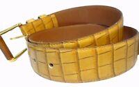 Cinturon para mujerde piel natural Estampado de cocodrilo Talla 85 Marron