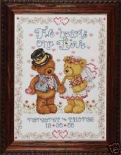 "Design Works TWO HEARTS Counted Cross Stitch KIT 8"" X 10"""