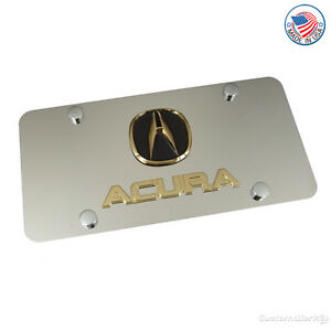 Acura Gold Logo + Name On Polished License Plate