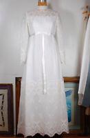 Vintage 60s White Crochet Lace Mod Empire Boho Hippie Wedding Dress Gown SMALL
