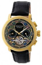 Heritor HR3502 Aura Automatic Yellow Gold-Tone SS Black Leather Band Men's Watch