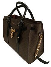 $358 MICHAEL KORS NOUVEAU HAMILTON LG SATCHEL LEATHER BROWN/BLK Hand Bag