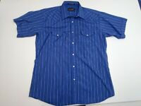 PANHANDLE SLIM MEN'S Western Large S/S Pearl Snaps Shirt Blue, Striped - Free SH